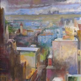Martha Hayden: 'sixth street st louis', 2019 Oil Painting, Urban. Artist Description: On 6th Street in St. Louis, on this wintery, late afternoon, clouds are coming in. You can see down into the street as well as out toward lighter colored building and green fields in the distance. Fewer value changes in the distance, a light middle ground and darker, ...