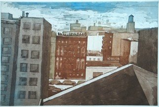 Martha Hayden: 'view north', 2012 Etching, Architecture. Lower East Side, New York City, color etching and aquatint...