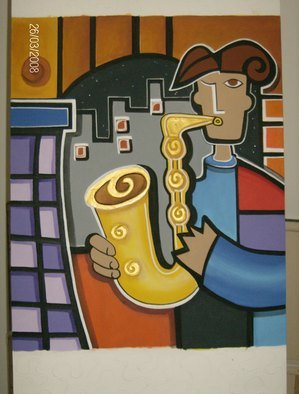 Martha Mafiol Artwork SAXOFONISTA, 2008 Acrylic Painting, Music