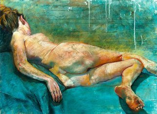 Martin Beck: 'on a blue drape', 2018 Pastel, Figurative. Artist Description: Pastel and gouache on prepared paper29 1 2 x 42 inches inches...