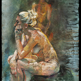 seated figure and palimpsest
