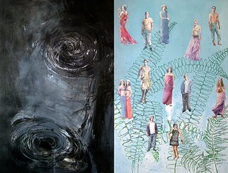 Martinho Dias: 'Deploration and Onyric Landscape, Written painting by Eurico Carrapatoso', 2004 Acrylic Painting, Abstract Figurative.    diptych - from the Written Paintings project   ...