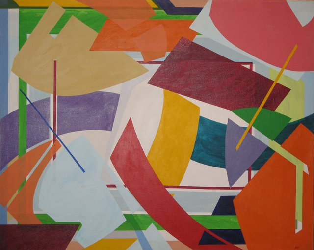 Marty Kalb  'Geometric Dance 2', created in 1981, Original Painting Oil.