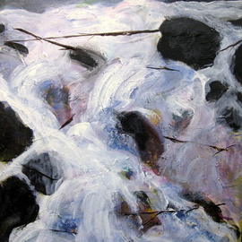 Marty Kalb Artwork Waterfall Cascade, 2006 Acrylic Painting, Landscape