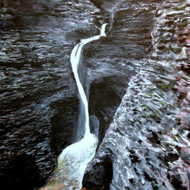 Marty Kalb Artwork Watkins Glen NY Falls in a Dark Place, 2007 Acrylic Painting, Landscape