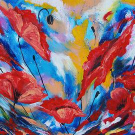 Elena Martynova Artwork wind in the poppies, 2016 Oil Painting, Expressionism