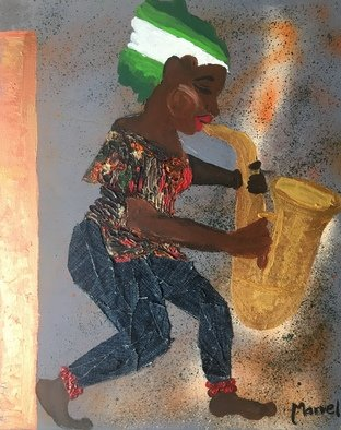 Marvel Ebiwari: 'saxophone girl', 2018 Acrylic Painting, Music. Artist Description: the medium is mixed mediaacrylic and jeans fabric. ...