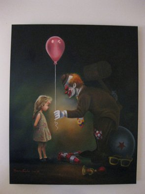 Marvin Teeples: 'After The Show', 2008 Oil Painting, Clowns.  This oil painting is open to interpretation. Some people see a clown picking up his props after the show, when he is approached by a young fan. He smiles and offers a balloon. Other people see something more sinister. What do you see ?  ...