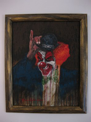 Marvin Teeples: 'Drippy Clown', 2008 Acrylic Painting, Clowns. Artist Description:  This is a acrylic painting on board. It comes framed. It would be perfect to hang over your bed. Sweet dreams.   ...