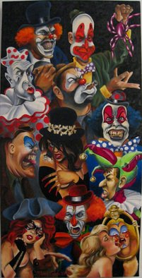 Marvin Teeples: 'Oh Hell, The Gangs All Here', 2008 Oil Painting, Clowns.  This oil painting is self explanatory. Close your windows and lock the doors. Looks like the circus is in town.  ...