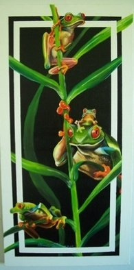 Marvin Teeples: 'Tree Frogs', 2007 Oil Painting, Portrait.   This is a oil painting of these wonderful, whimsical tree frogs. The colors are magnificent, and the way the stems and leaves weave in and out is a fun element.    ...