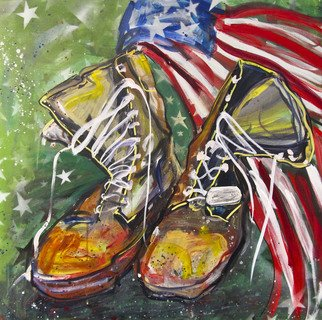 Mg Stout: 'What these Boots Have Seen', 2013 Acrylic Painting, Military. Artist Description:  acrylic painting, military boots, navy wounded warrior, canvas, original, solider, Iraq, war, American ...