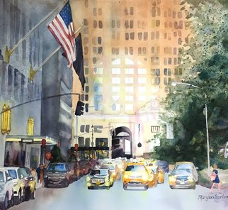 Maryann Burton: 'by the waldorf', 2018 Watercolor, Cityscape. Artist Description: Framed archivally under uv protective glazing. Framed size 22. 5x31. 5...