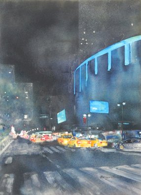 Maryann Burton: 'msg at night', 2017 Watercolor, Cityscape. Artist Description: Archivally framed under uv protective acrylite. ...