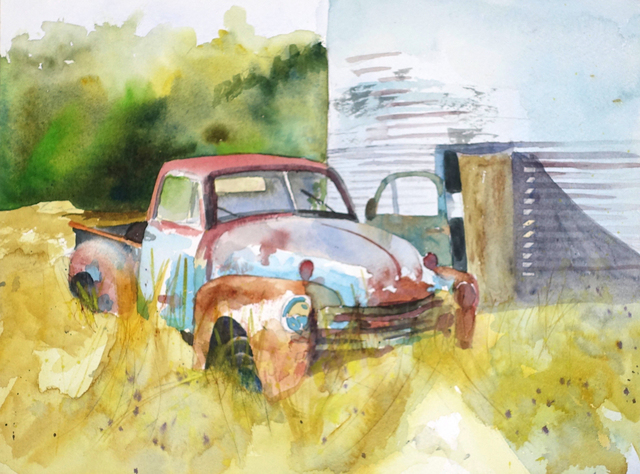 Maryann Burton  'Old Chevy Pickup', created in 2017, Original Watercolor.