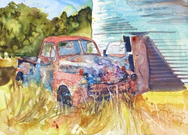 Maryann Burton  'Old Chevy Pickup On Yupo', created in 2017, Original Watercolor.