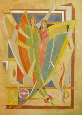 Artist: Yorgos Maryelis - Title: Couple - Medium: Tempera Painting - Year: 2005