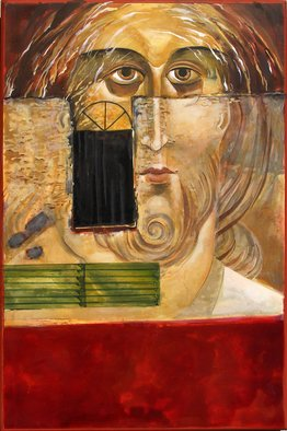 Mary Jane Miller: 'Behind the Wall', 2012 Tempera Painting, Christian.                  egg tempera, new age, christian, angels, religious, icons, iconography, spiritual, Christ, contemportary, image, women of God, women, feminine, mary jane miller                 ...