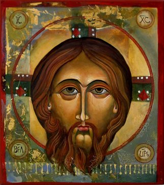 Mary Jane Miller: 'Face of Christ', 2012 Tempera Painting, Christian.  egg tempera, christian, religious, icons, iconography, spiritual ...