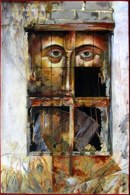 Mary Jane Miller Artwork Face of Christ, 2012 Tempera Painting, Christian