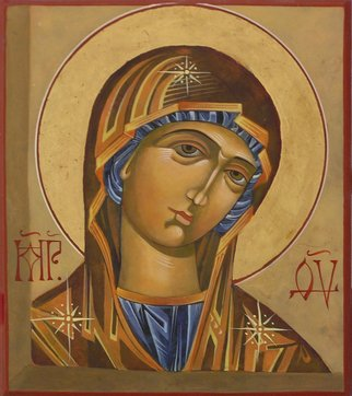 Mary Jane Miller: 'Mary', 2012 Tempera Painting, Christian.    egg tempera, christian, religious, icons, iconography, spiritual, virgin Mary, Mary , Mother of God   ...