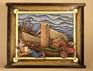 Mary Michael Shelley Artwork Farmer Taking a Snooze, 2007 Mixed Media, Americana