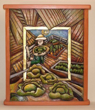 Mary Michael Shelley Artwork My Garden with Cabbages, 2006 Mixed Media, Americana
