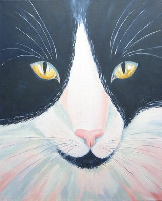 Mary Stubberfield: 'black and white cat', 2017 Acrylic Painting, Cats. Artist Description: A beautiful young black and white cat s face with sparking amber eyes. Ready to hang canvas...