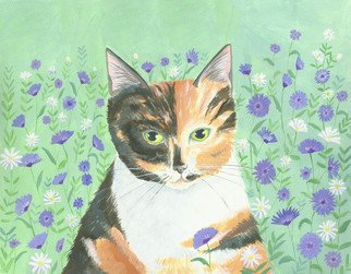 Mary Stubberfield: 'calico cat', 2017 Acrylic Painting, Cats. Artist Description: A beautiful calico cat in her garden with cornflowers and daisies. Aquafine watercolour paper 300gsm mounted onto white board. ...