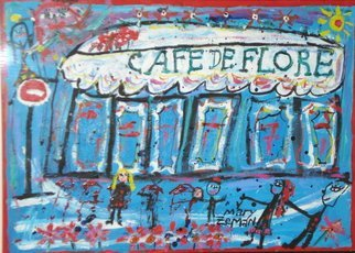 Mary Zeman: 'Cafe de Flore', 2008 Acrylic Painting, Travel.  Acrylic on paper framed under glass ...