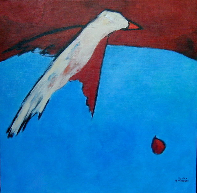 Michal Ashkenasi  'BleedingPeace', created in 2002, Original Painting Oil.