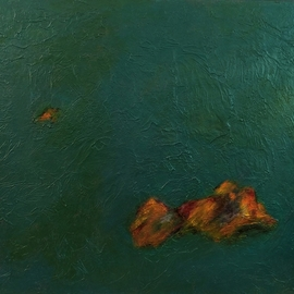 Michal Ashkenasi: 'isles', 2019 Acrylic Painting, Seascape. Artist Description: A minimal artwork wherein I wanted to show the smallness of our beings in the  big universe. I took the example if the small isles in the big ocean . ...