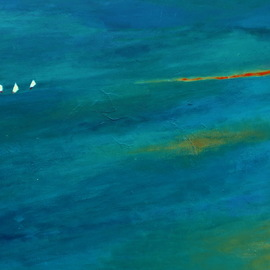 Michal Ashkenasi: 'sails', 2017 Acrylic Painting, Seascape. Artist Description: An abstract - minimalistic painting of the Sea and three small Sails  It is a kind of showing the smallness of Men in the Nature . ...