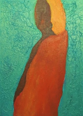 Michal Ashkenasi: 'woman', 2019 Acrylic Painting, Beauty. A figure of a woman which holds serenity , beauty and love . She is the Mother figure and the colors enrich this impression . ...