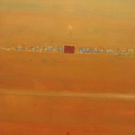 Anindya Roy: 'conceptual scape 47', 2008 Acrylic Painting, Conceptual. Artist Description:  This also from my conceptual scape series, an evening atmosphere blending with radish colour in my country side . ...