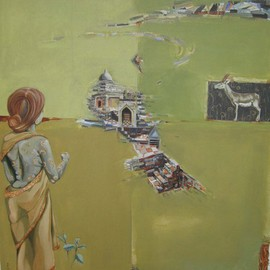 Anindya Roy: 'conceptual scape 55', 2009 Acrylic Painting, Conceptual. Artist Description:  A typical land scape , I tryid to catch the game of light and shade of a open field. the relation with living and non- livilg objects. ...