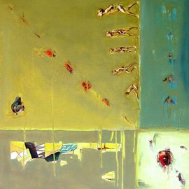 Anindya Roy: 'conceptual scape 70', 2010 Acrylic Painting, Conceptual. Artist Description:   A typical land scape , I tryid to catch the game of light and shade of a open field. the relation with living and non- livilg objects.  ...