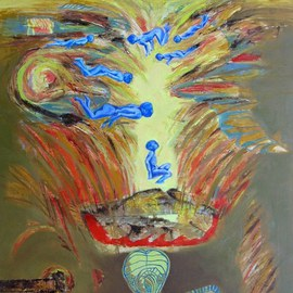 Anindya Roy: 'conceptual scape 77', 2010 Acrylic Painting, Conceptual. Artist Description:    A typical human situation , I tryid to catch the man forced to do some inhuman activities.  ...