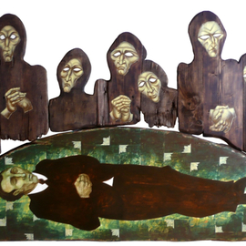 Matei Enric: 'DEATH WATCH', 2011 Tempera Painting, Holocaust. Artist Description:         TEMPERA ON WOOD, ASSEMBLY 4 PIECES        ...