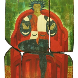 Matei Enric: 'THE HANGEDMANS THRONE', 2010 Tempera Painting, Archetypal. Artist Description:    TEMPERA ON WOOD, ASSEMBLAGE 4 PIECES   ...