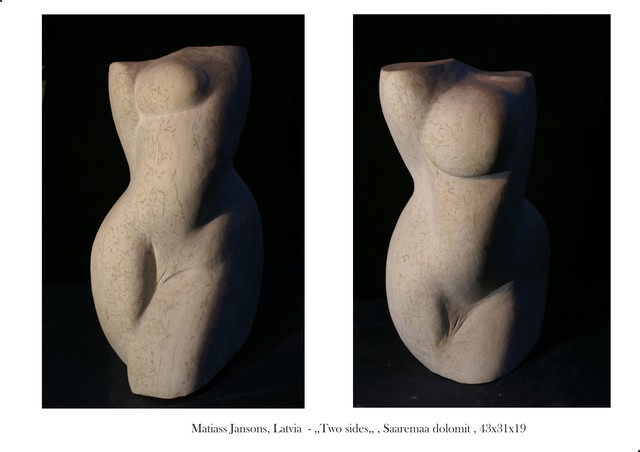 Matiass Jansons  'Two Sides Divas Puses', created in 2018, Original Sculpture Marble.