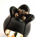 Very Unique Author Ring Black Tulip Handmade 18k Gold Ebony Black Diamonds, Bezalel Matkovsky