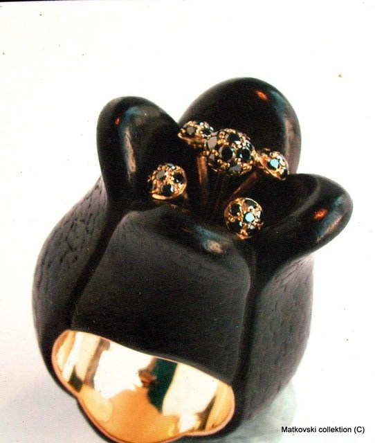 Bezalel Matkovsky Artwork Very unique author ring Black Tulip