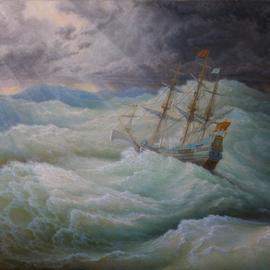 a ship in stormy sea