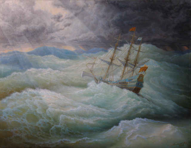 Yuriy Matrosov  'A Ship In Stormy Sea', created in 2016, Original Painting Oil.