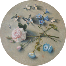 Yuriy Matrosov: 'butterflies and rose', 2019 Oil Painting, Floral. Artist Description: Butterflies and rose is the round picture.  Its diameter is 19. 7 inches.  This is the third picture from a series of round pictures with butterflies.  The color scheme in which the paintings are made is chosen in such a way that the paintings fit perfectly into the ...