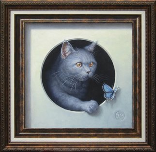 Yuriy Matrosov: 'cat and butterfly', 2017 Oil Painting, Cats. Artist Description: Painting Oil on Canvas. This trompe l oeil depict realistically rendered painting of british shorthair cat and butterfly in both real and illusionary frames. The cat is climbing out of the circle hole erasing the boundary between image and reality. For this painting, I applied several layers of ...