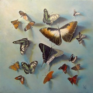 Yuriy Matrosov: 'follow your dreams in blue', 2018 Oil Painting, Animals. Artist Description: This trompe l oeil depict realistically rendered butterflies of the peruvian amazon.  For this painting, I applied several layers of paint to the canvas in classic oil painting technique.  I used a strong light and heavy shadows to create depth in a painting and a centre of interest.  ...