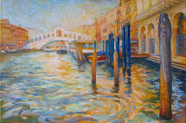 Yuriy Matrosov  'Golden Venice', created in 2019, Original Painting Oil.