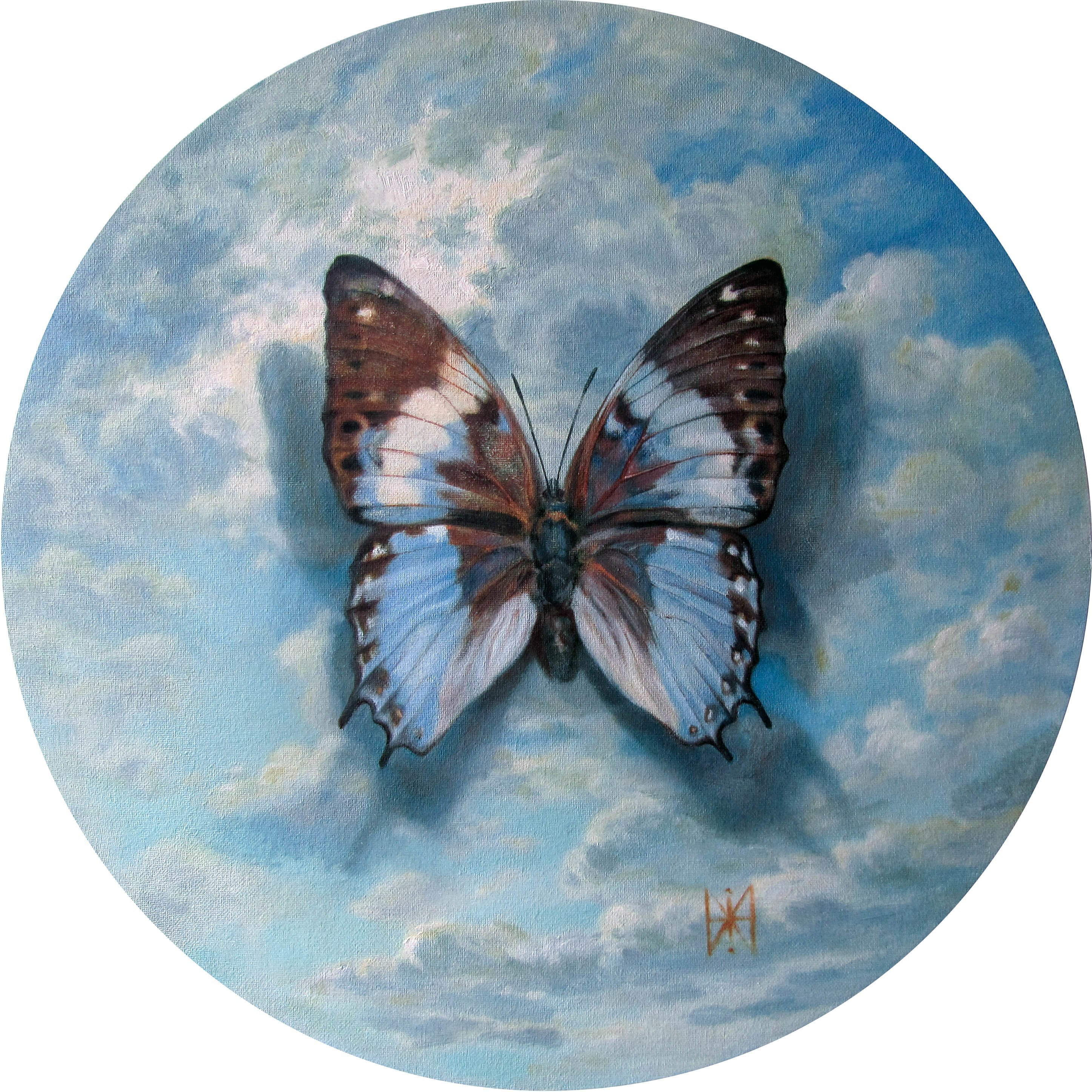 Yuriy Matrosov: 'sky dream', 2019 Oil Painting, Nature. Artist Description: Sky dream is the round picture with a diameter of 19. 7 inches.  This is the first picture from a series of round pictures with butterflies.  The color scheme in which the paintings are made is chosen in such a way that the paintings fit perfectly into the ...